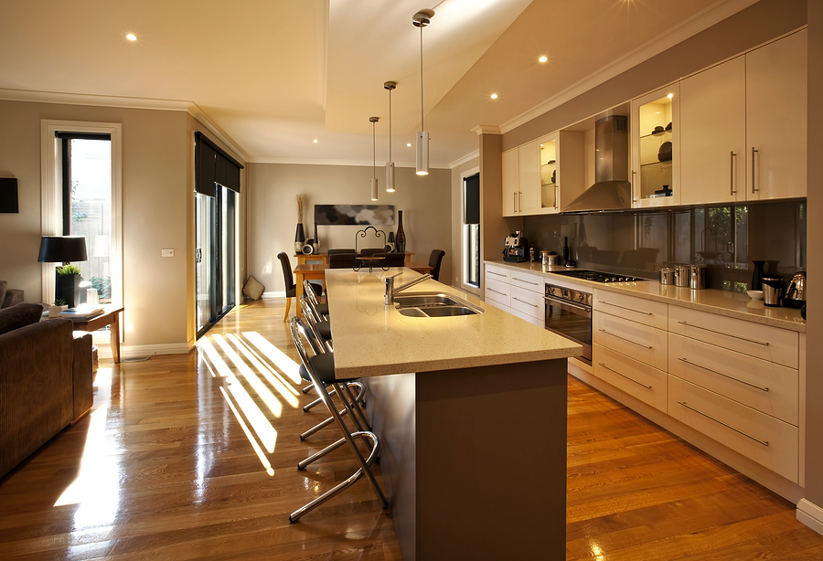 Contemporary kitchen with hardwood timber floor